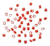 Mehrfache rote Süßigkeitsbonbons wurden über der Oberfläche verschüttet Stockfotos