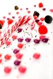 Mehrfache Süßigkeitansammlung auf Weiß Stockbild