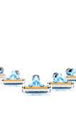 Mehrfachverbindungsstelle, welche die Rasiermesser lokalisiert auf einem weißen Hintergrund rasiert Lizenzfreie Stockfotos
