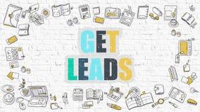 Mehrfarben erhalten Sie Führungen auf weißem Brickwall Kritzeln Sie Art stock abbildung
