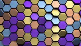 Mehrfarben-Hintergrund des Hexagons 3d verlegen 3d übertragen Stock Abbildung