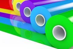 Mehrfarben-PVC-Polythen-Plastikband Rolls oder Folie renderin 3D Stockbild