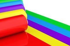 Mehrfarben-PVC-Polythen-Plastikband Rolls oder Folie renderin 3D Lizenzfreie Stockfotos