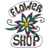 Mehrfarbenaufschriftblumenladen auf dem weißen Hintergrund Lizenzfreie Stockfotografie