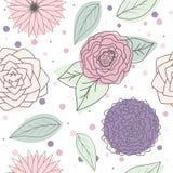 Mehrfarbenblätter und Blumen des nahtlosen Musters vektor abbildung