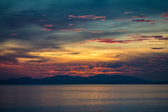 Sonnenuntergang in der Seraya Insel 2 Stockfoto