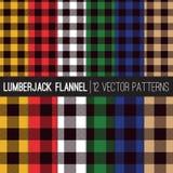 Mehrfarbenholzfäller-Flannel Shirt Plaid-Vektor-Muster Stockbilder