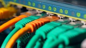 Mehrfarbenkabel angeschlossen an Server stock video footage