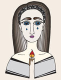 Mehrfarbenmädchen mit einem Riss auf Gesicht hält eine Kerze Stockbild