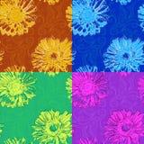 Mehrfarbensatz Muster mit Zeichnungen und Gerberas Lizenzfreies Stockbild
