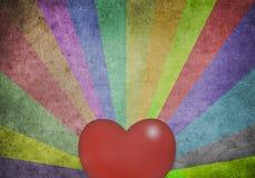 Mehrfarbensonnenstrahlen und Herz Stockfotos