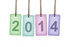 Mehrfarbentags, die 2014 beschriften Stockfoto