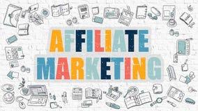 Mehrfarbenteilnehmer-Marketing auf weißem Brickwall Kritzeln Sie Art Lizenzfreies Stockbild