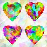 Mehrfarbige abstrakte Herzen auf Hintergrund Stockbild