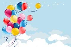 Mehrfarbige Ballonkarte stockfotos