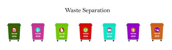 Mehrfarbige Behälter für das Trennen des Abfalls in Kategorien: Plastik, Papier, Metall, Glas, organisch, Elektronik, Batterien a lizenzfreie abbildung