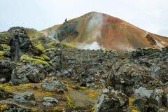 Mehrfarbige Berge bei Landmannalaugar, Stockfoto