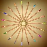 Mehrfarbige Bleistifte ausgebreitet in einem Kreis auf dem Papier Vektor Lizenzfreie Stockfotografie