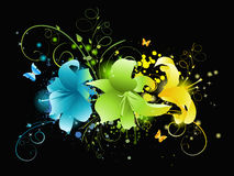 Mehrfarbige Blumen auf schwarzem Hintergrund Stockbild