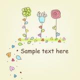 Mehrfarbige Blumen von Hand gezeichnet Stockfotografie