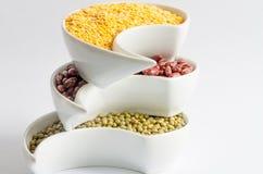 Mehrfarbige Bohnen in der weißen Keramikschüssel Lizenzfreies Stockfoto