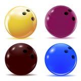 Mehrfarbige Bowlingkugeln Lokalisierte Gegenstände mit Schatten auf dem Thema des Sports Abbildung Lizenzfreies Stockfoto