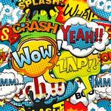 Mehrfarbige Comicsrede sprudelt nahtloses Muster stock abbildung