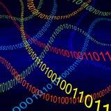 Mehrfarbige Dämpfe des binären Codes im Cyberspace vektor abbildung