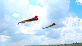 Mehrfarbige Drachen, die gegen den blauen Himmel und die Wolken fliegen stock video