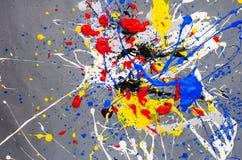 Mehrfarbige Farbfleck- Verunstaltung auf dem grauen Hintergrund stockfotos
