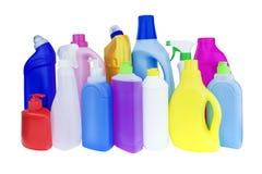 Mehrfarbige Flaschen mit Haushaltschemikalien stockbild