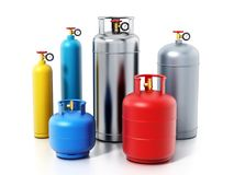 Mehrfarbige Gasflaschen lokalisiert auf weißem Hintergrund Abbildung 3D Lizenzfreie Stockfotografie