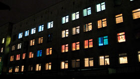 Mehrfarbige Geburtsklinik Windows in Moskau Stockfoto