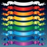 Mehrfarbige glänzende Farbbänder. Vektor Stockfotos