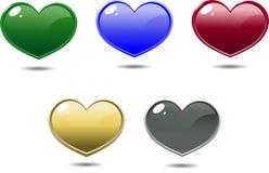 Mehrfarbige glänzende Herzen Stockbilder