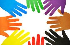 Mehrfarbige Hände Lizenzfreie Stockfotos