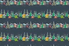 Mehrfarbige Häuser des fabelhaften Karamells auf Marineblauhintergrund vektor abbildung