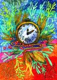 Mehrfarbige helle Markierung-gemalte Uhr mit Anlagen, rote Beeren, Kette lizenzfreies stockfoto