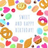 Mehrfarbige Karte und Hintergrund des süßen alles- Gute zum Geburtstagvektors Stockfotografie