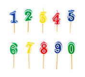 Mehrfarbige Kerzen des Geburtstages Lizenzfreie Stockfotografie