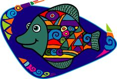 Mehrfarbige kleine Fische Stockfoto