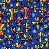 Mehrfarbige Libellen des nahtlosen Musters Lizenzfreies Stockbild