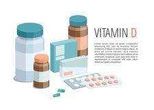 Mehrfarbige lokalisierte Pillen und Kapseln mit einer Pillenschachtel Vitamin D lizenzfreie abbildung