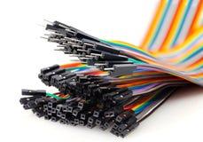 Mehrfarbige Nahaufnahme der elektrischen Drähte Stockbild