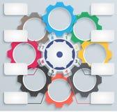 Mehrfarbige Papiermechanismen mit Vorsprüngen Lizenzfreie Stockfotos