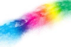 Mehrfarbige Partikelexplosion auf weißem Hintergrund Stock Abbildung