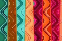 Mehrfarbige Pastelllinien mit verschiedenen Wellen, abstrakte Tapete vektor abbildung