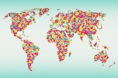 Mehrfarbige Punkt-Weltkarte Stockbild
