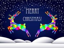 Mehrfarbige Rotwild des abstrakten grafischen Dreiecks, neues Jahr, frohe Weihnachten Stockfotos