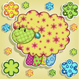 Mehrfarbige Schafe mit Blumen Stockfotografie
